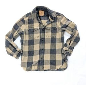 American Eagle Tan & Gray Flannel Button Up Plaid